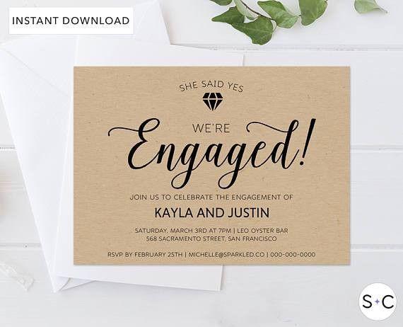 Rustic Engagement Invitation Template Rustic Engagement