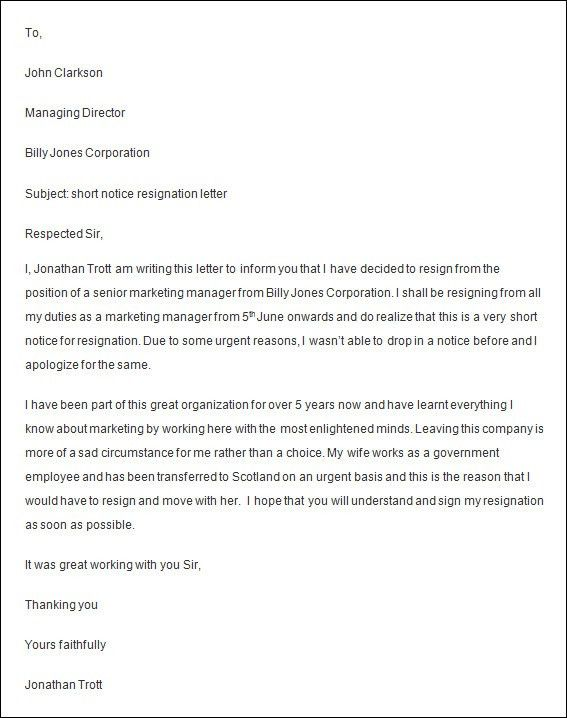Resignation Letter Format: Sample Employee Resignation Letter ...