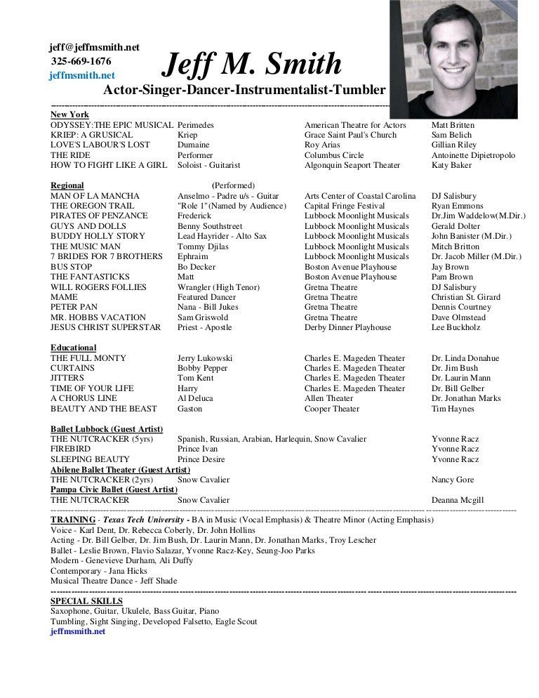 100+ [ Actor Sample Resume ] | Beginners Acting Resume To Bad I ...