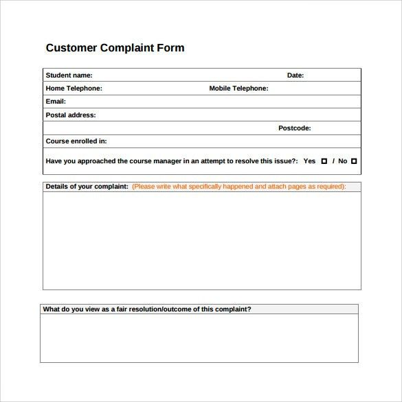 complaints forms templates - Template