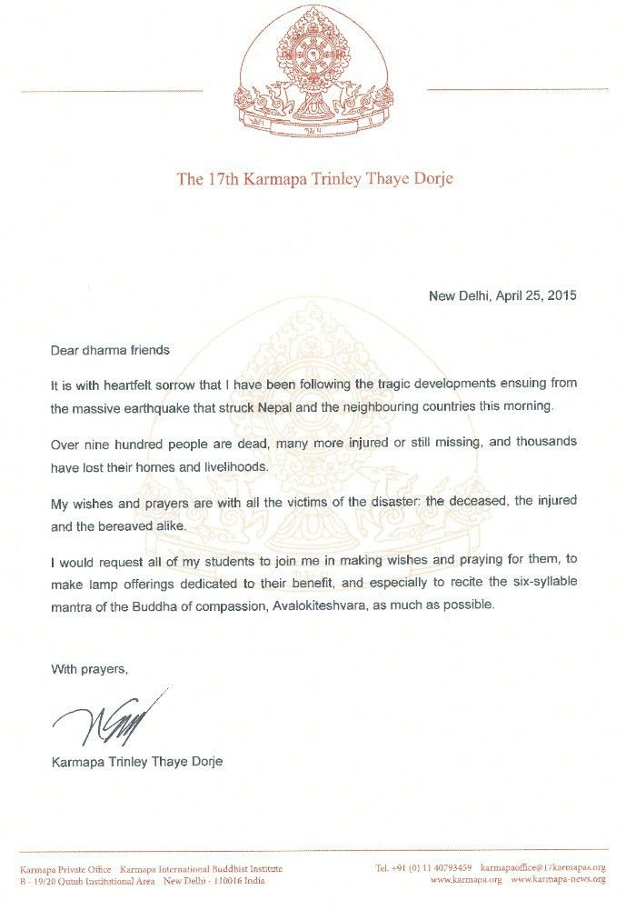 Condolence letter regarding the earthquake in Nepal - The 17th ...