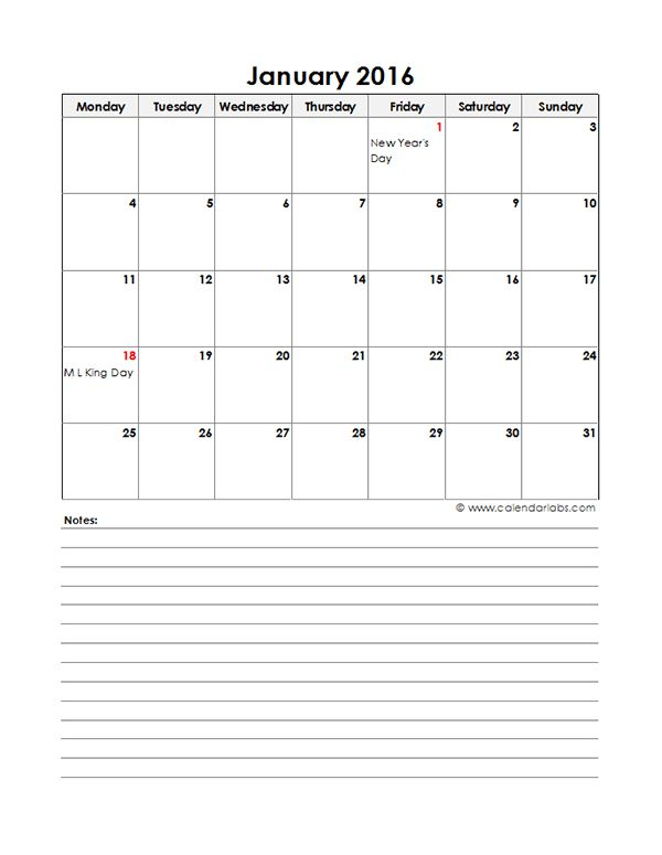 2016 Excel Monthly Calendar 05 - Free Printable Templates