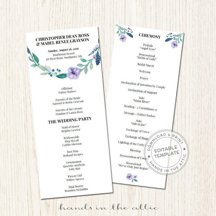 Wedding Programs Archives | Printable Stationery | Weddings ...