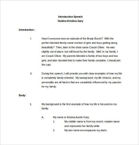 Sample Speech Outline Template - 9+ Free Documents Download in PDF ...