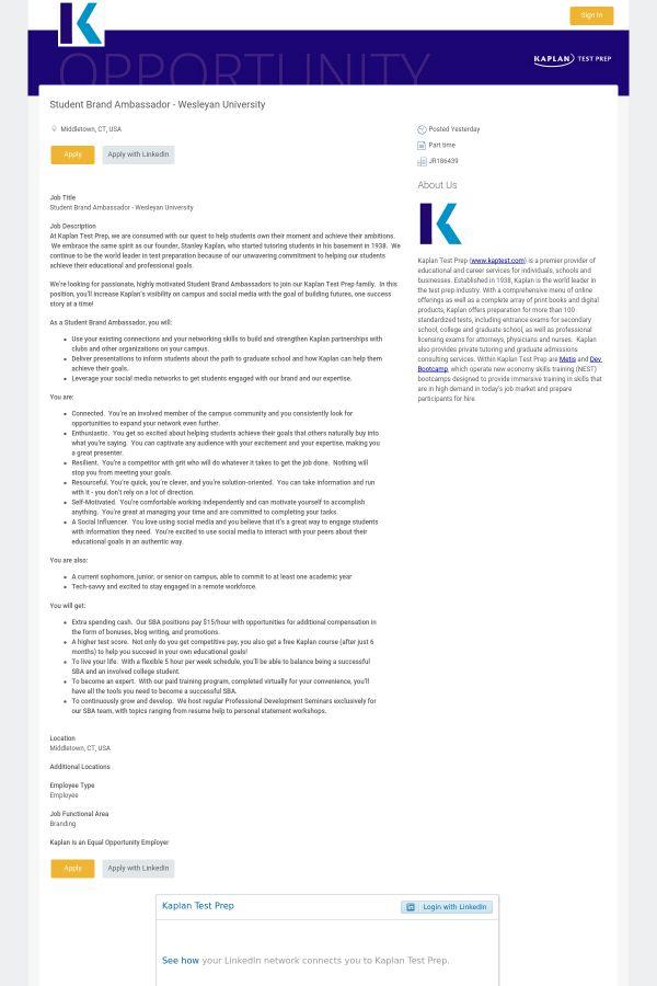 Student Brand Ambassador job at Kaplan in Middletown, CT | Tapwage ...