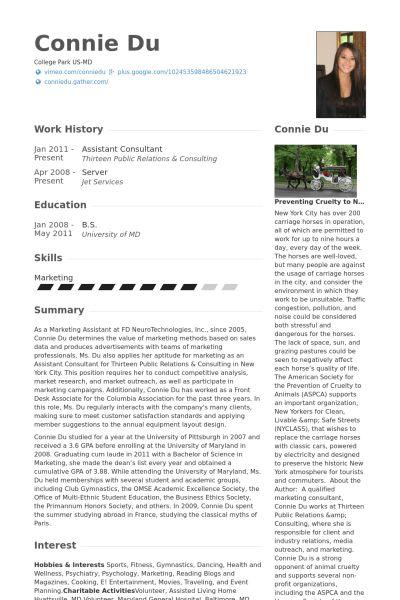 Assistant Consultant Resume samples - VisualCV resume samples database