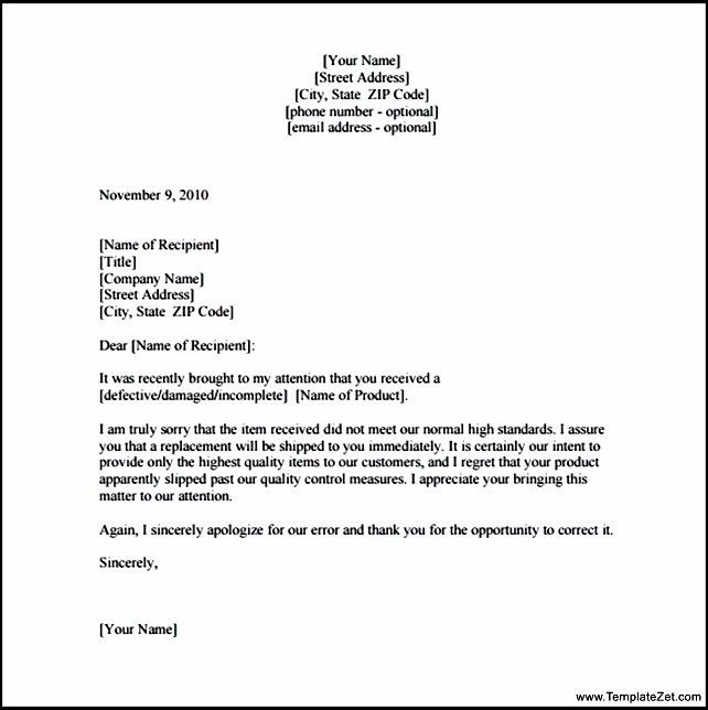 Apology Letter to Customer for Damaged Goods | TemplateZet