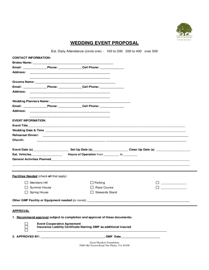 Wedding Event Proposal Template Free Download