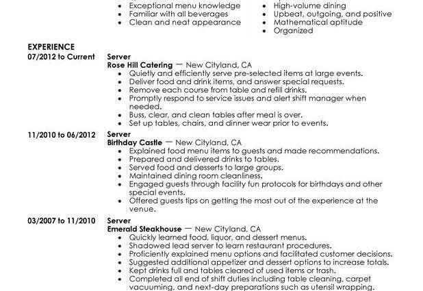 Server Resume Example server resume examples server sample resume ...