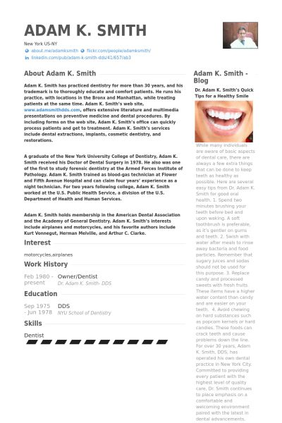 Owner/Dentist Resume samples - VisualCV resume samples database