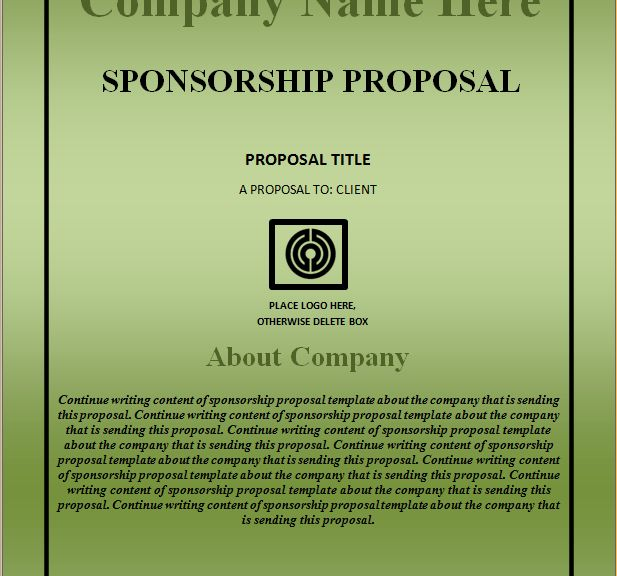 Sponsorship Proposal Template – Excel Word Templates