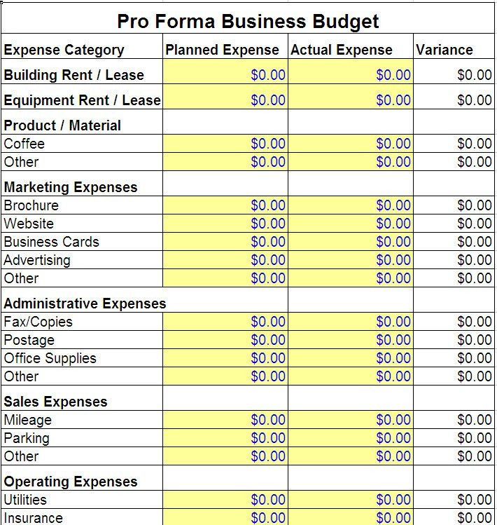 Pro Forma Business Budget Template | Pro Forma Business Template