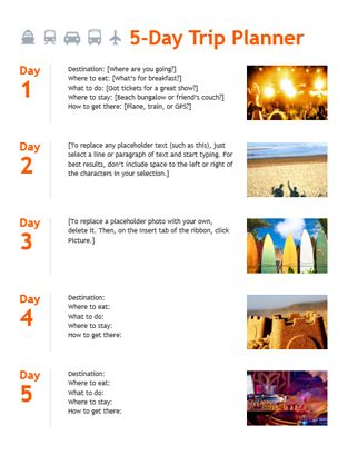 5-day trip planner - Office Templates