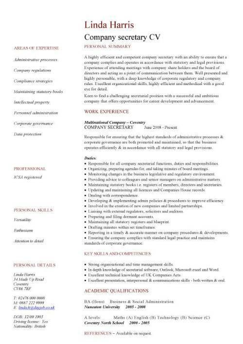company secretary CV sample, Job description and activities ...