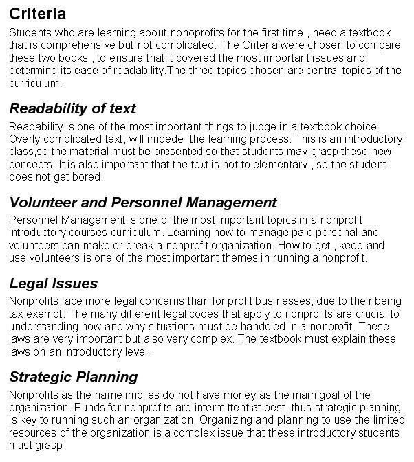 Recommendation Report Criteria