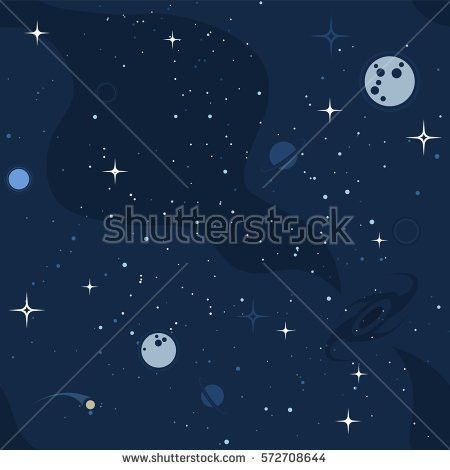 Vector Flat Space Seamless Pattern Background Stock Vector ...