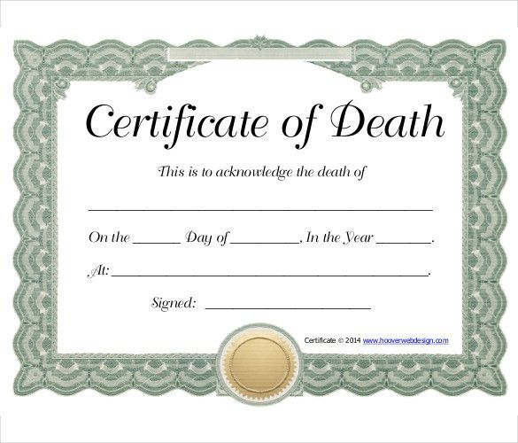 Sample Death Certificate Template – 11+ Free Word, PDF Documents ...