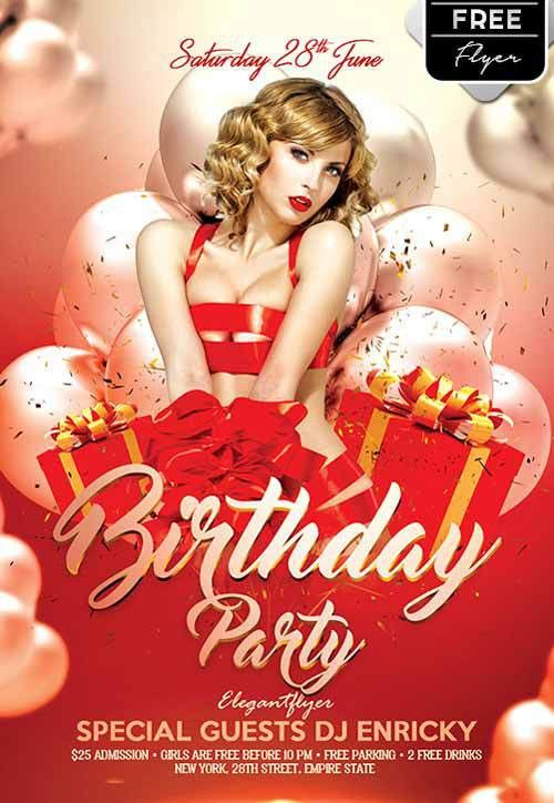Birthday Party Free Flyer Template - http://freepsdflyer.com ...