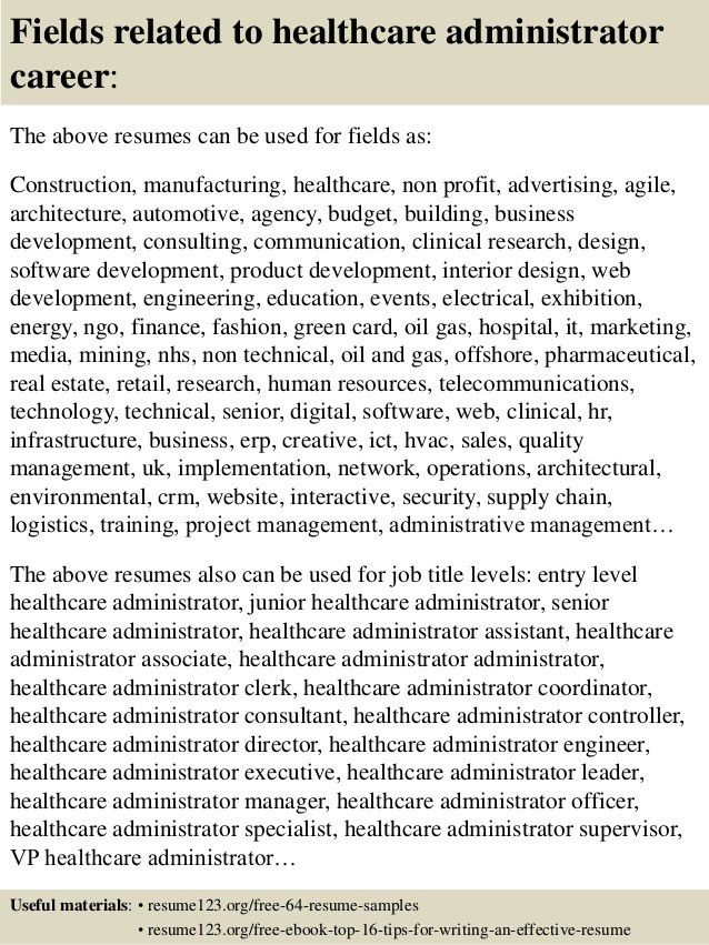 Top 8 healthcare administrator resume samples