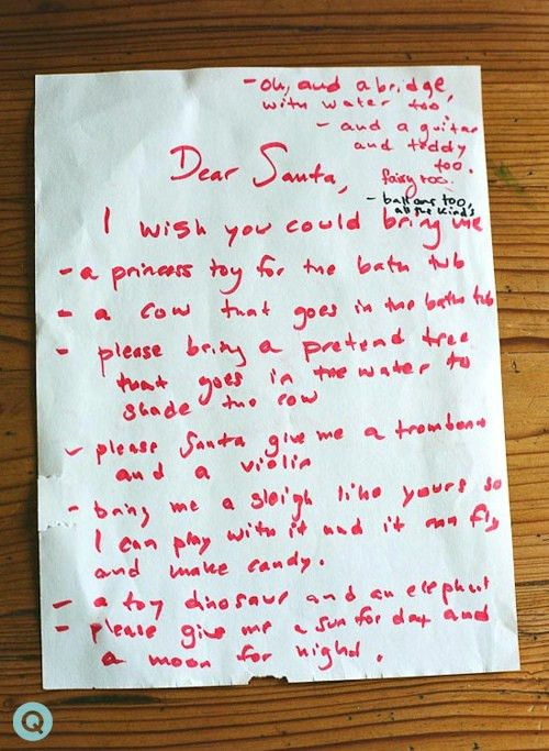 Kids Still Write Wish Lists For Santa To Bring Them Christmas Toys ...