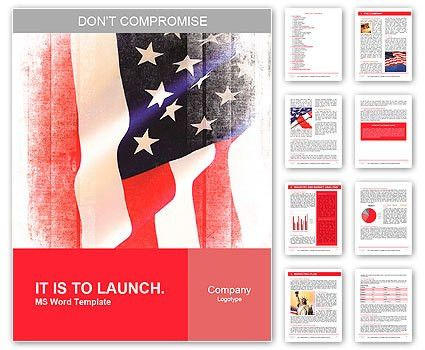 Flag of the USA (United States of America) Word Template & Design ...
