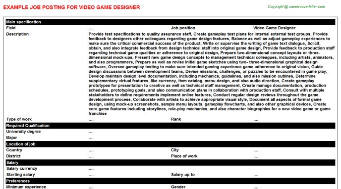 Video Game Designer Job Title Docs