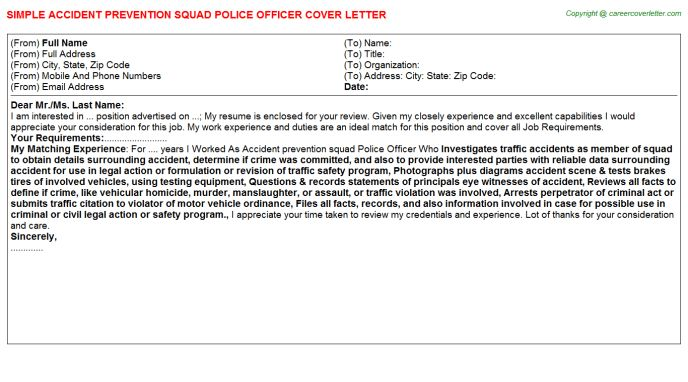 Accident Prevention Squad Police Officer Cover Letter