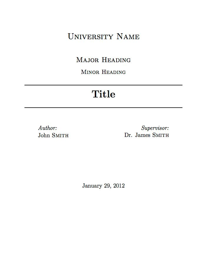 University Assignment Title Page Template | Font Stuff | Pinterest