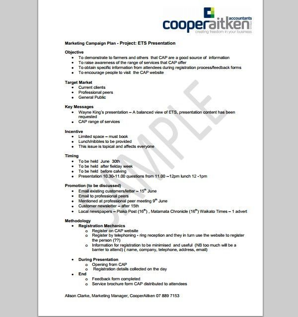 Marketing Proposal Templates Sample Marketing Proposal Template 6 – Sample Marketing Campaign