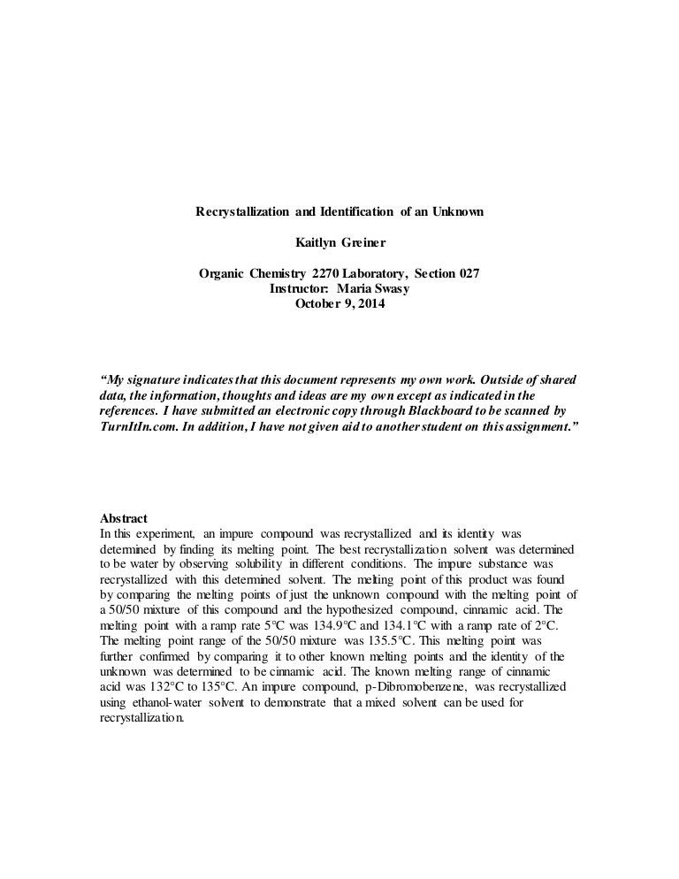 Org lab recrystallization lab report final