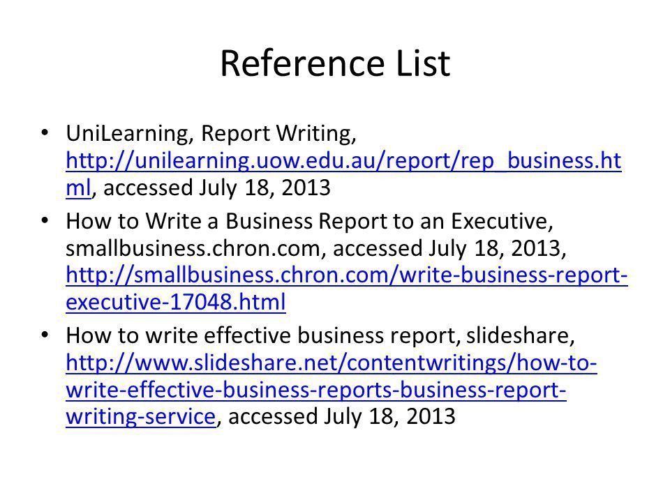 Write business report example