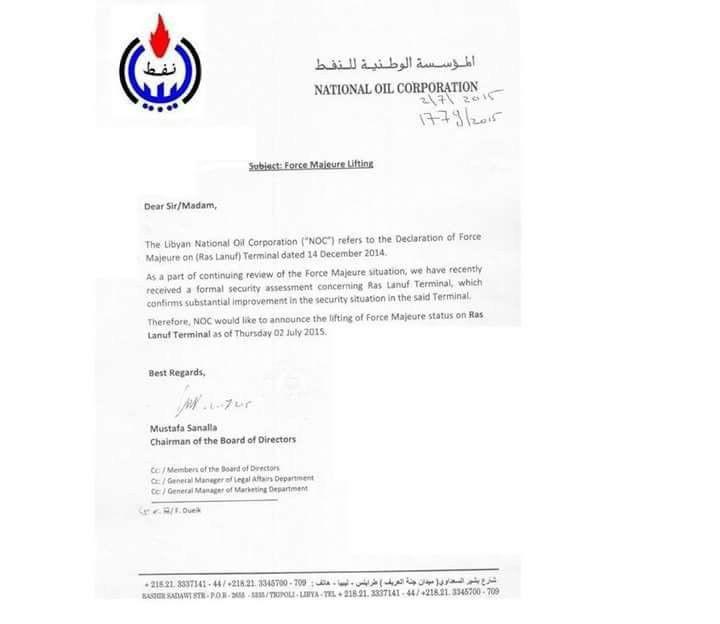 """Libyaschannel EN on Twitter: """"Belatedly published #NOC letter on ..."""