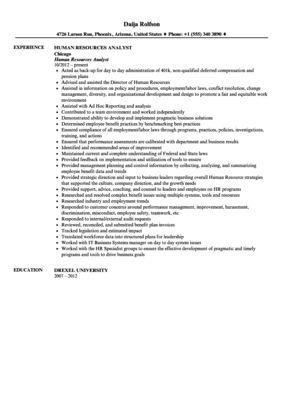 Human Resources Analyst Resume Sample | Velvet Jobs