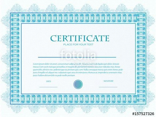 Illustration of a custom certificate template with guilloche ...