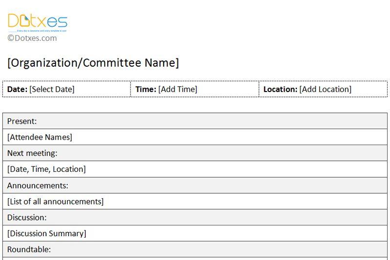 Organization Meeting Minutes Template (short form) - Dotxes