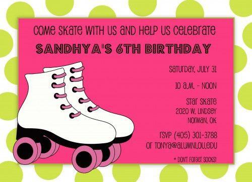 Free Roller Skate Invitation Template   Free Roller Skating ...