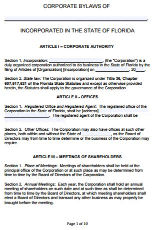 Free Florida Corporate Bylaws Template | PDF | Word |