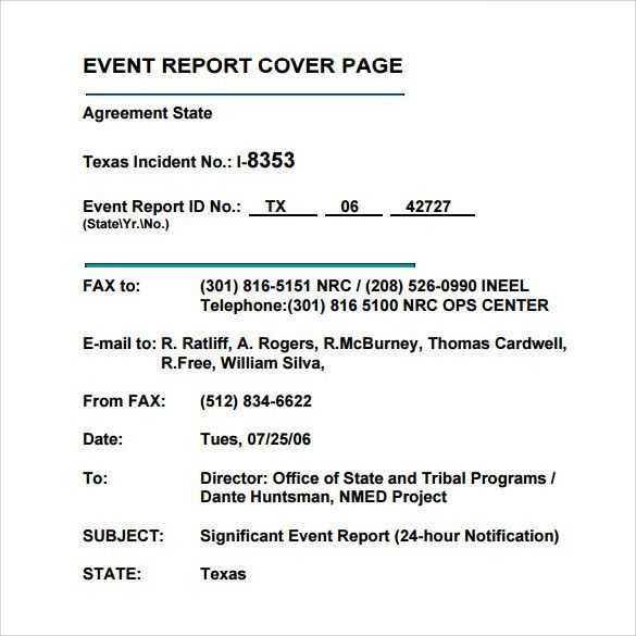report cover page sample