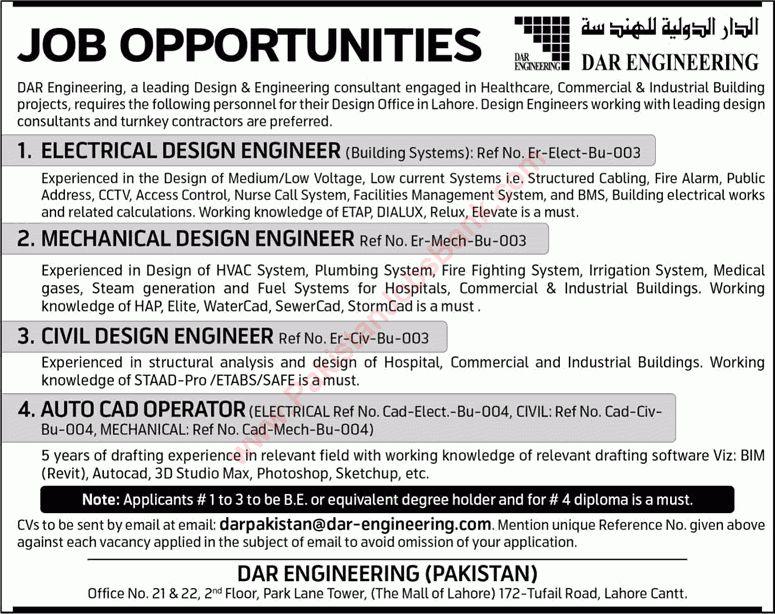 Dar Engineering Pakistan Jobs 2015 June Electrical / Mechanical ...