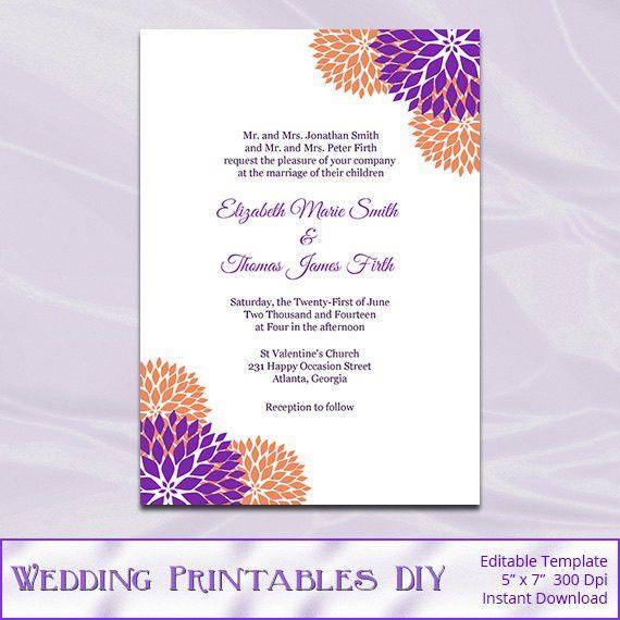 Purple and Orange Wedding Invitation Template Diy Printable