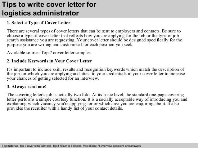 Logistics administrator cover letter