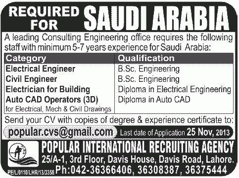 Auto Car Operators Job, Consulting Engineering Saudi arabia Job ...