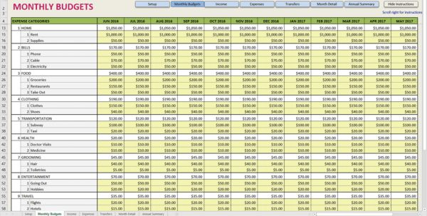 Printable Monthly Budget Template Monthly Expense Spreadsheet ...