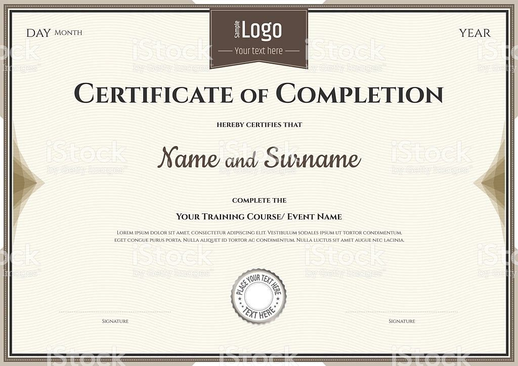 Certificate Of Completion Template In Vector For Achievement ...