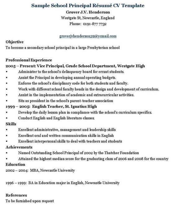 Principal/Administrator Resume Template