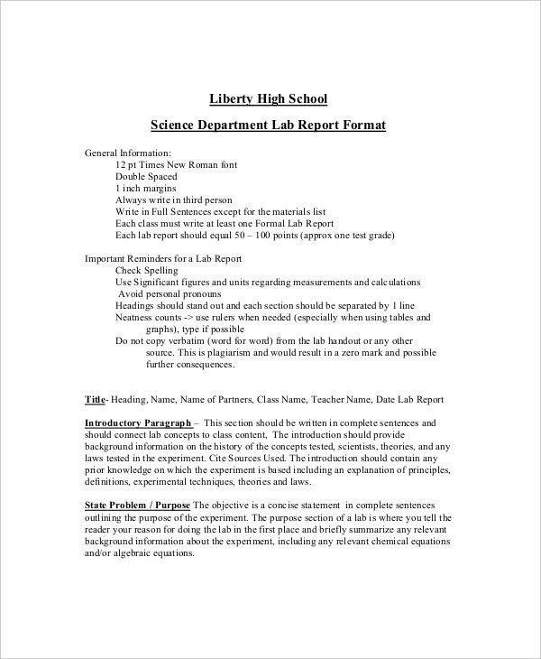 9+ Lab Report Templates - Free Sample, Example, Format | Free ...