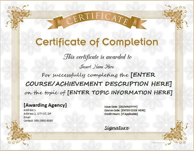 Certificate of Completion for MS Word DOWNLOAD at http ...