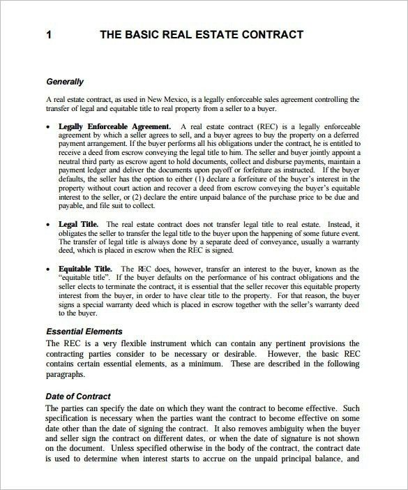 Real Estate Sales Contract Template | Template Idea