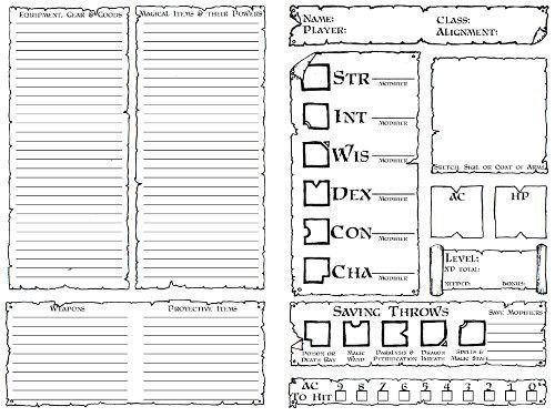 Character Sheets | Dyson's Dodecahedron