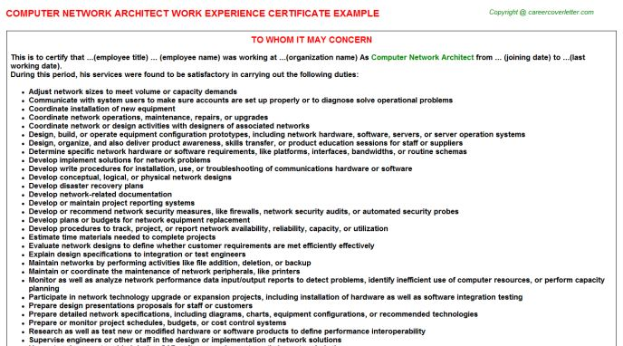 Computer Network Architect Job Title Docs
